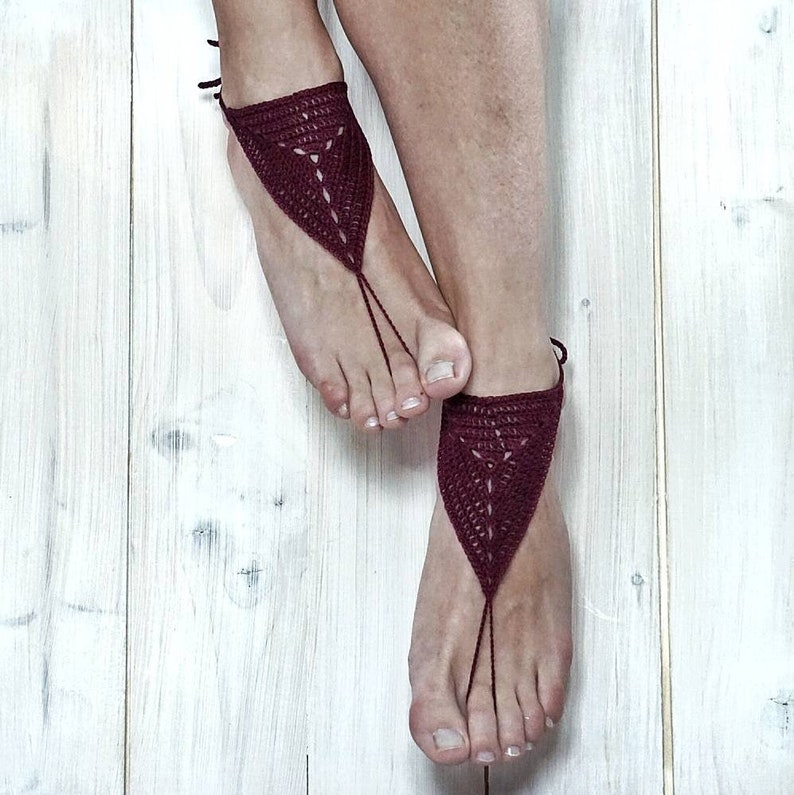 Burgundy crochet barefoot sandals wine red cotton wedding foot bracelet for  woman nude slave beach shoes yoga accessory