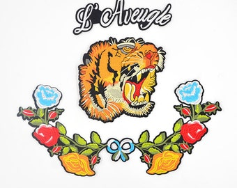 3c6693d1568d28 Tiger head flower letter set embroidery cloth stickers large wild subsidy  patch F-32