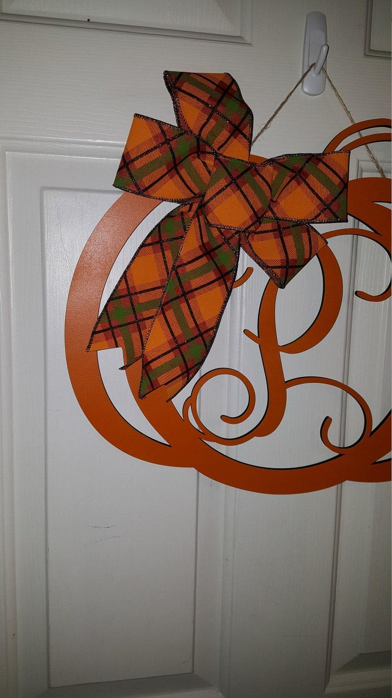 Whimsical Fall Door Hanger Pumpkin Monogram Pumpkin Autumn Door Hanger Monogram Fall Decor Hand Painted Pumpkin Monogram Door Hanger