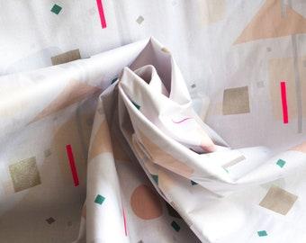 SALE - 1m Geometric pattern beige fabric with gold print cotton