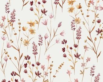 Wild Flowers Watercolor Jersey Fabric - half yard