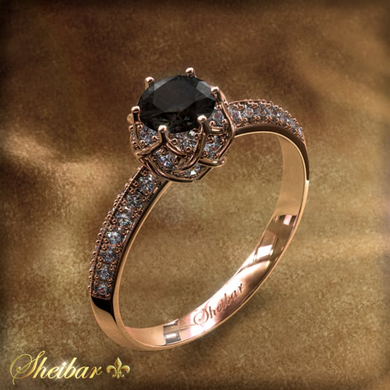 aa8b30e7e2ff1 Engagement / diamond ring Special artistic design, central black diamond  0.40 carat 42 combination with white diamonds 14K Rose gold
