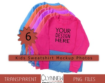 Download Free Kids Shirt Mockup Bundle | 6 Sweatshirt Mock Up Template Photos | Blank Shirts | Long Sleeve Shirt Layout For Toddler Designs | PNG T Shirt PSD Template
