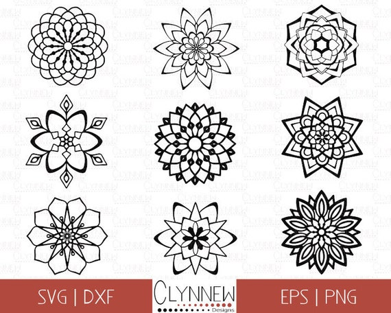 Mandala SVG, Mandala Bundle, Simple Mandala Flower Designs Stencil /  Templates for Vinyl Cutting, Geometric Designs, Download, Dxf, Png, SVG