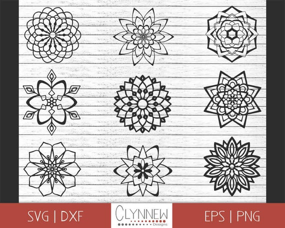 Geometric Zentangle Flower Cutout Template  Stencil for Vinyl Cutting Svg Simple Zentangle SVG Png Zentangle Flower SVG Black Outline