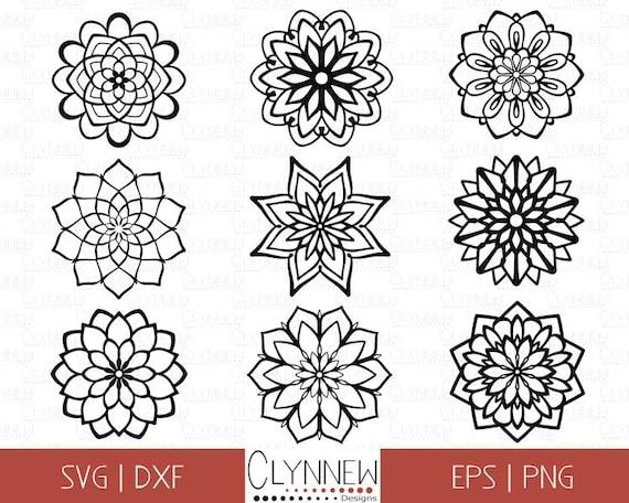 Mandala SVG, Mandala Designs, Simple Mandala Flower Cut File Template  Digital Stencils for Vinyl Cutting, Geometric SVG Files, Download Png