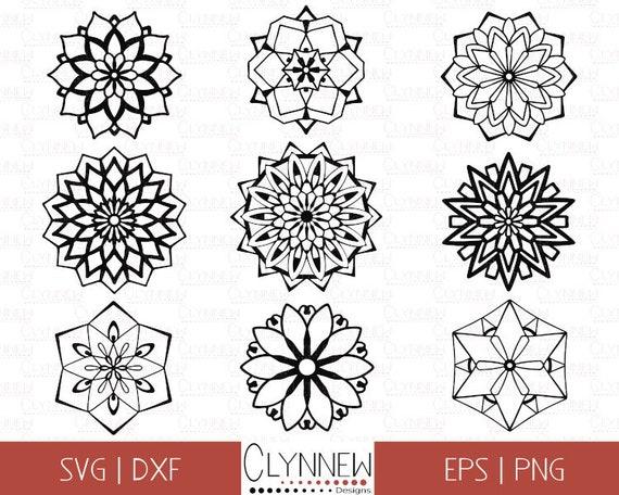 Mandala Vector Graphics, SVG Mandala Flower, Bundle, Simple Mandala Design  Templates for Vinyl Cutting, Geometric Clipart, Download, PNG