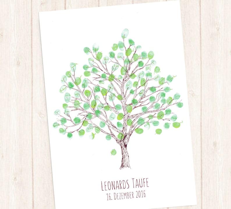 Taufe Geschenk Gästebuch Baum Zeichnung Taufgeschenk Lebensbaum Kinderzimmerbild Persönliches Geschenk Zur Taufe Fingerabdruckbaum