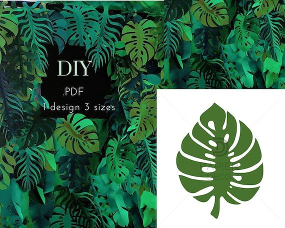 monstera digital template pdf monstera tropical leaves trace etsy