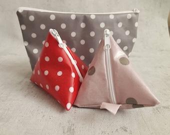 3er DIY Materialpaket 1 Kosmetiktasche + 2 Pyramidentaschen // vollständiges Nähset // für Anfänger geeignet // aus einem Stück genäht