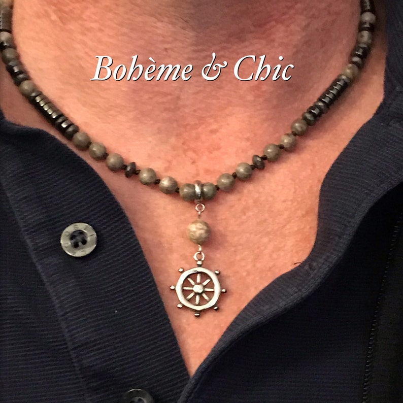 Natural stone man necklacemen/'s jewelryneck towerstainless steel pendantfossil agatehematitebohemian style