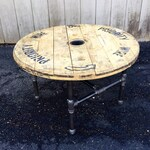 Reclaimed Wood Spool Coffee Table Industrial Coffee Table Upcycled Wire Spool Industrial Cart Table  With Pipe Base