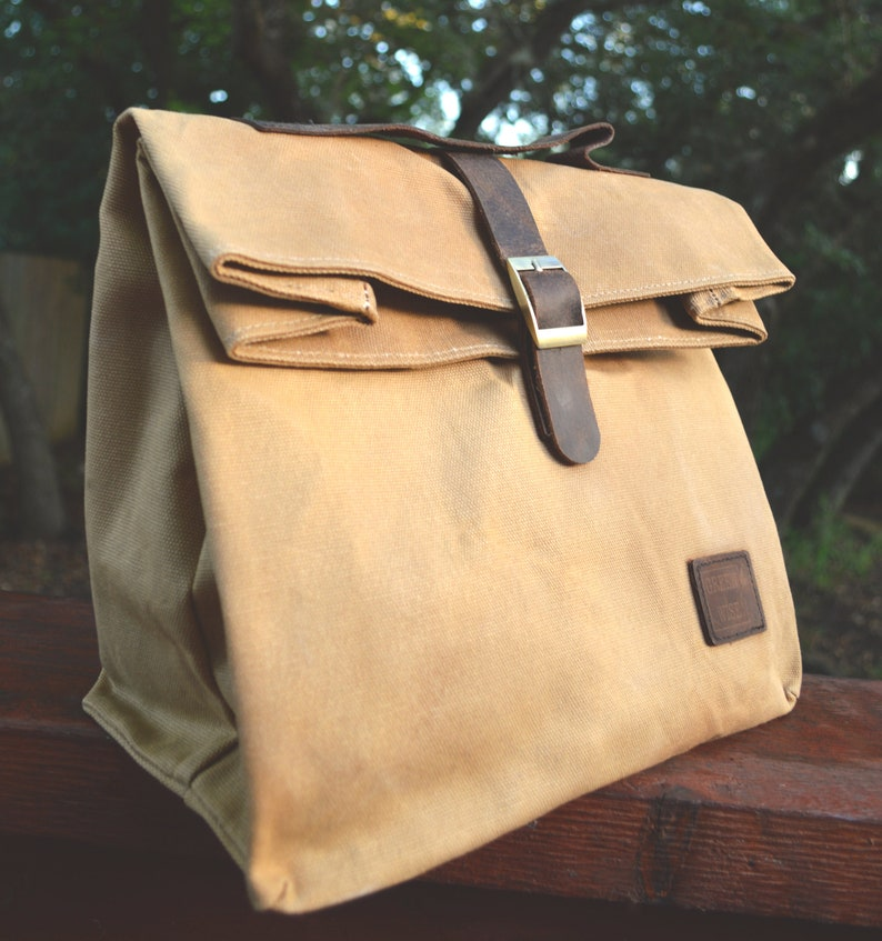 e616c74be9eb Insulated Waxed Cotton Canvas Lunch Bag w/Genuine Leather Details & Outside  Pocket | Designer Tote | Light Weight, Spacious, Collapsible