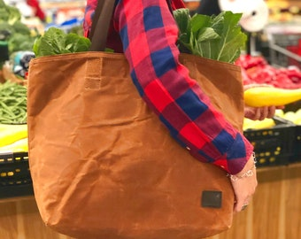 Waxed Canvas Grocery Bag   Eco Friendly Reusable Market Bag   Extra Strong Large Shopping Bag