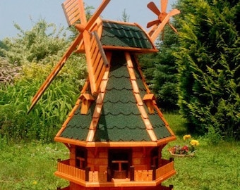 North German Windmill 1,25m with Lighting Solar Ball Bearings for the Garden