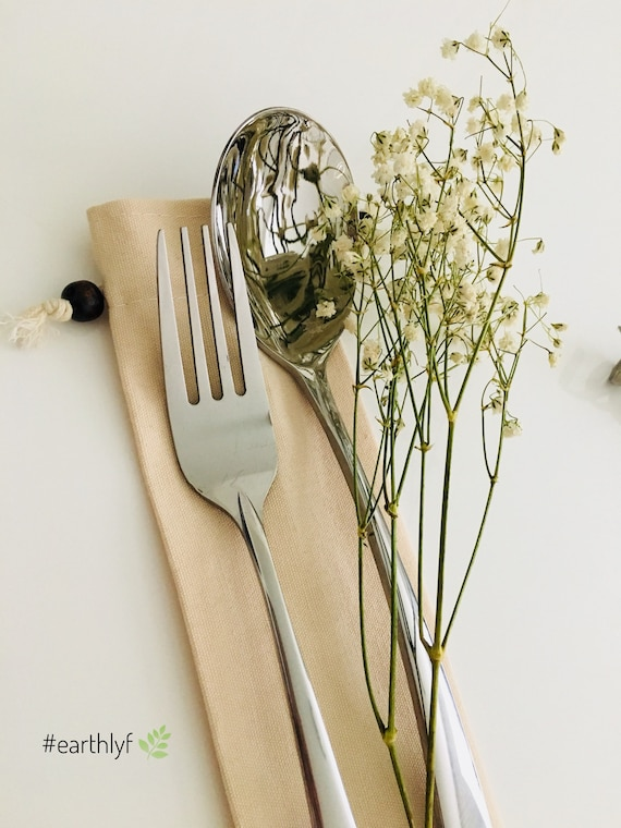reusable spoon and fork natural canvas pouch- wedding favor Stainless steel spoon and fork- party favors Housewarming favor