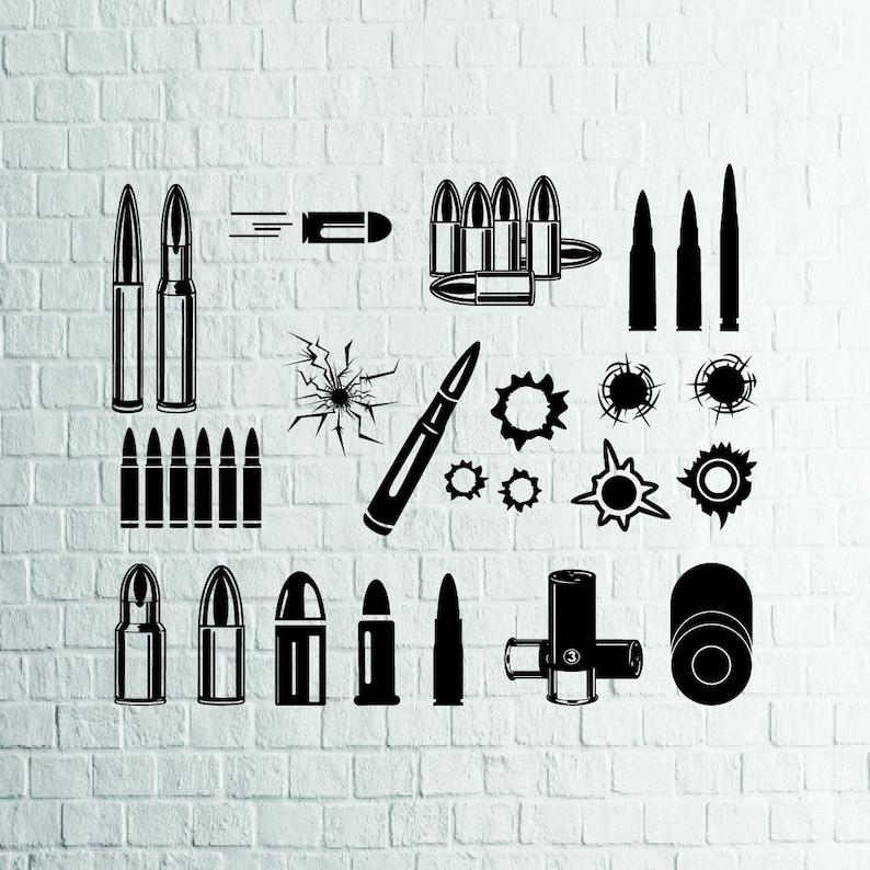 BUY 3 GET 1 FREE   20 Bullets Svg Bundle, Bullet Hole Vector, Weapon Svg  Files For Cricut,Cutting,Print  etc, Files Download Svg,Dxf,Png,Eps