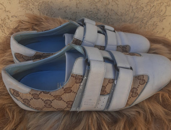 Used Gucci Blue Leather & Guccissima Sneakers Canv