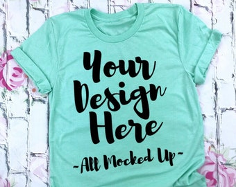 Download Free Bella Canvas Unisex 3413 Mint Triblend T-shirt Mock Up MockUp Image - Flat Lay Flatlay PSD Template