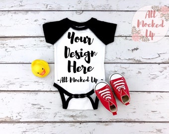 35b0f2f8 Rabbit Skins 4430 Raglan Infant Baby Bodysuit - White and Black T-shirt  Tshirt Mock Up MockUp Image - 1/19
