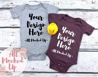 255a814b0 Bella Canvas 100B Baby Bodysuit Athletic Heather & Heather Maroon Tee Shirt  T-shirt Mock Up MockUp Image - Flat Lay Flatlay - 10/18