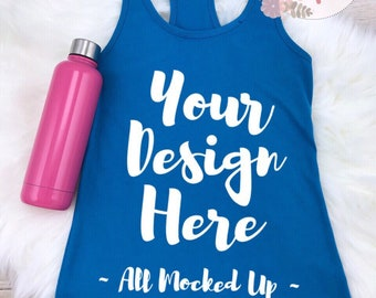 Download Free Next Level 1533 Women's Turquoise Racer Back Tank Top T-shirt Tshirt Mock Up MockUp Image - Flat Lay Image - Flatlay 7/18 PSD Template