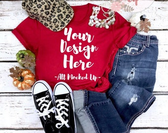 Download Free Bella Canvas Unisex 3413 Red Triblend T-shirt Mock Up MockUp Image - Flat Lay Flatlay - Fall Harvest Theme - 9/18 PSD Template