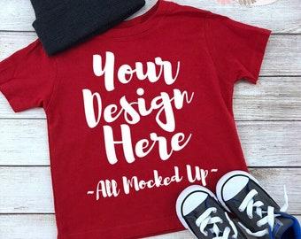 eb2431ab9 Rabbit Skins 3321 Red Toddler T-shirt Tshirt Mock Up MockUp Image - Flat  Lay Image - Flatlay - 8/18