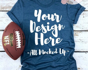 Download Free Bella Canvas Unisex 3413 Steel Blue T-shirt Mock Up MockUp Image - Flat lay - Flatlay - Football Theme 8/18 PSD Template