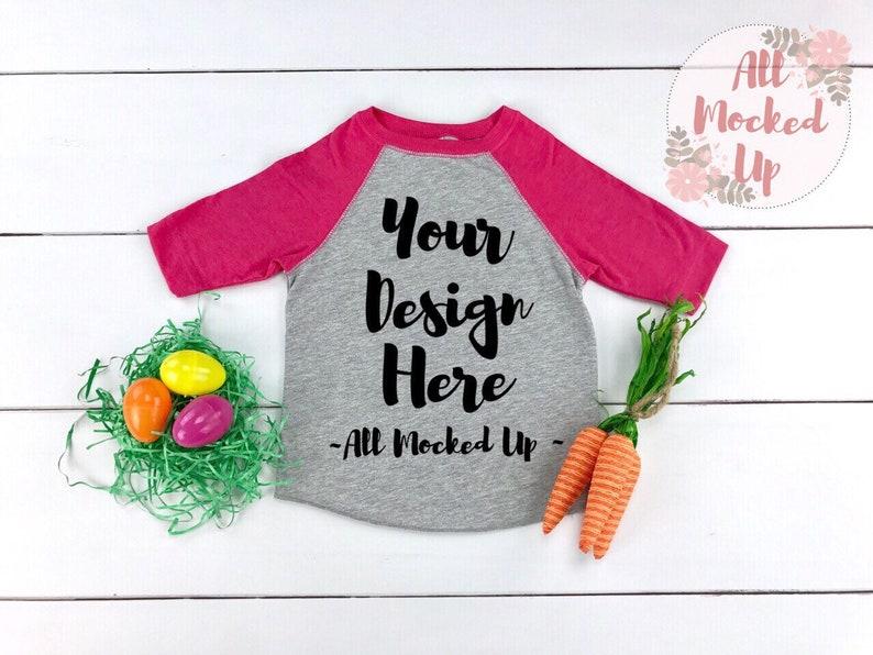 Toddler Size Rabbit Skins 3330 Raglan Easter Theme Mock Up 219 Vintage Heather /& Pink T-shirt Tshirt Mock Up MockUp Image