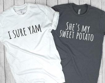 5cb08c798 She's My Sweet Potato T, Relationship Goals, Couple's Shirt, best friend  shirts, matching t shirts, Thanksgiving t, Matching Shirt, soft t
