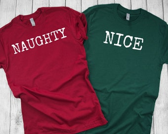 dd072b1cf Naughty or Nice Best Friends Matching Shirts, Christmas Matching Sweaters, Couple's  Matching Holiday Shirts, Best Friend Gift