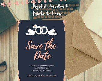 52b7c1195da87 Save the Date- Navy Coral Delicate Wedding Dove Ring Custom Digital Download