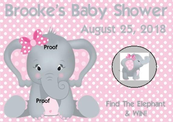 Elefante Personalizada Rosa Niña Bebé Ducha Precortada Edible Cake Topper Decoración