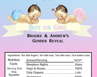 15 Gender Reveal/ Baby Shower Candy Bar Wrappers.