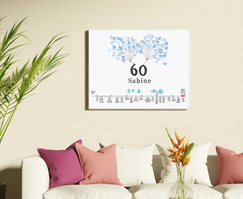 60 Geburtstag Gästebuch Leinwand Bild 5040 Etsy