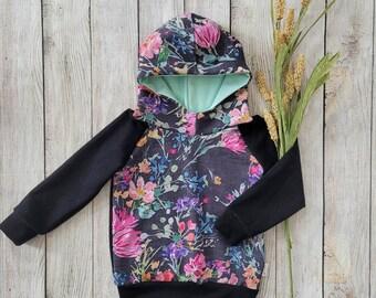 Neon floral toddler hoodie