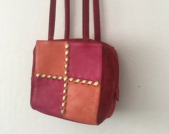 bbd5174761b Vintage Yves Saint Laurent YSL Pink and Orange Gold Patchwork Purse  Crossbody Bag