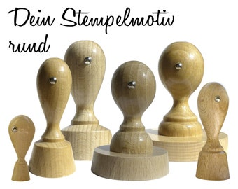 Stamp with your design / logo / your file - round wooden stamp