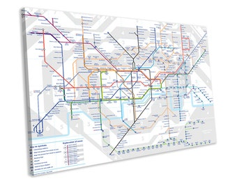 330effe7306 London Underground Map Tube Lines CANVAS PRINT Framed Wall Art Picture