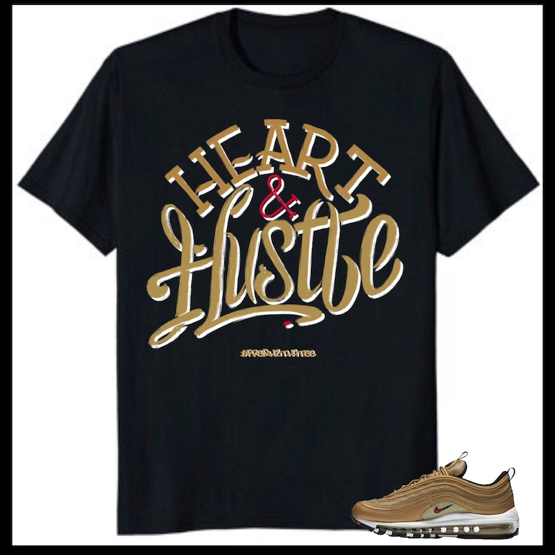 sale retailer 2ed5f 335cb Air Max 97 Metallic Gold 2018 Heart and hustle tshirt   made   Etsy