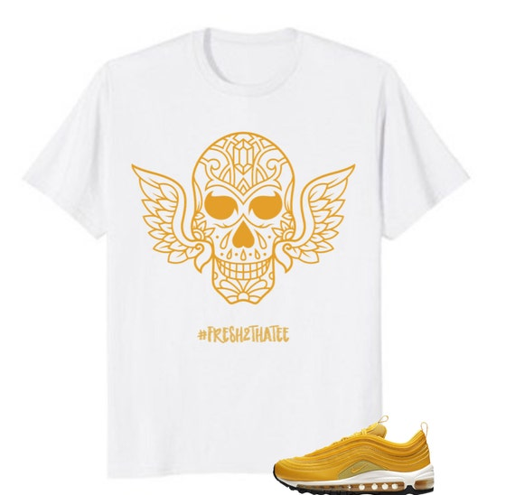 bbc546b0d7310 Items similar to Fly skulls shirt: made to match nike air max 97 ...