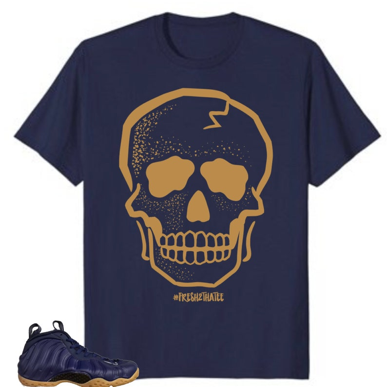 5cb4436292d Skull T-Shirt made to match Nike Air Foamposite One Midnight