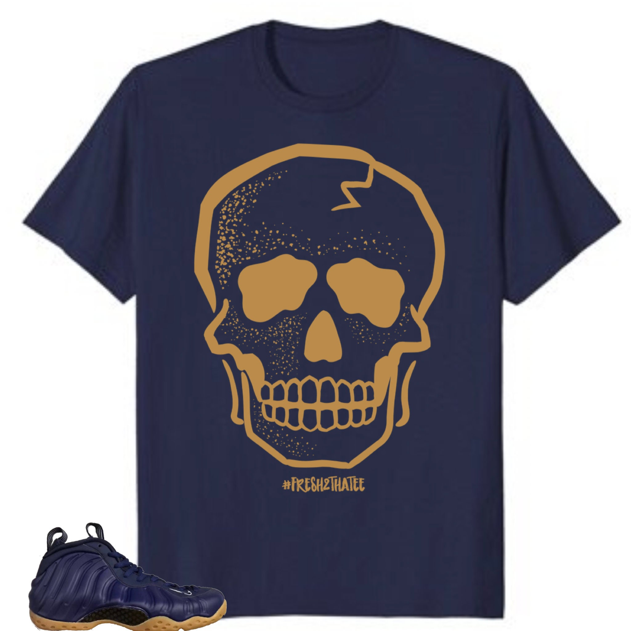 0988546b Skull T-Shirt made to match Nike Air Foamposite One Midnight | Etsy