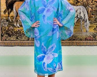 d61077e76a6 Vintage Estate Yves Saint Laurent Rive Gauche silk blue dress. YSL vintage  blue floral gown. Blue silk designer vintage dress. Rare dress