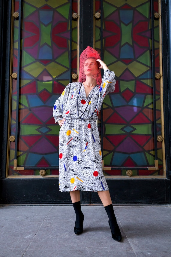1980s vintage dress with abstract pattern. Mondria