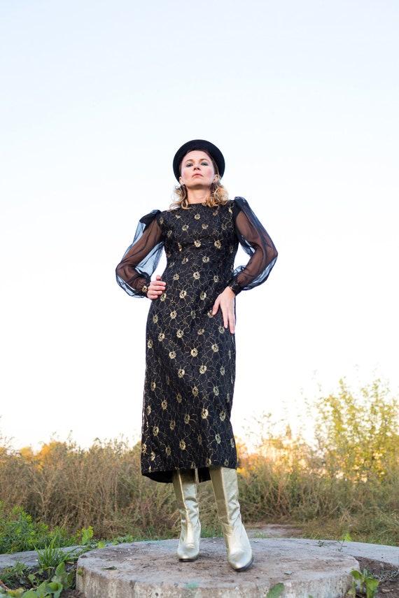 Lace Dress 1970s , Vintage Black Lace Dress, Silk