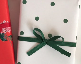 Holiday Birthday Christmas} Wrapping Paper: Forest and Red Cafe Stripe {Gift Wrap