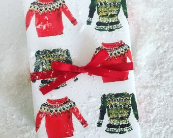 Wrapping Paper: Red and Green Fair Isle Sweaters {Gift Wrap, Birthday, Holiday, Christmas}