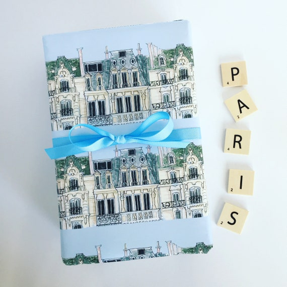 Birthday Christmas} Holiday Wrapping Paper: Blue Paris Apartment {Gift Wrap